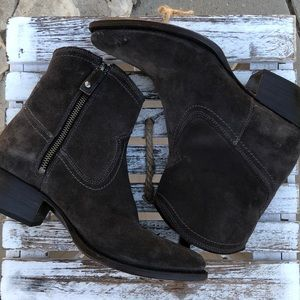 Frye gray leather ankle boots